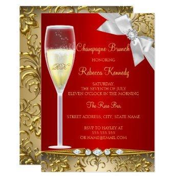 elegant gold red white champagne brunch invitation