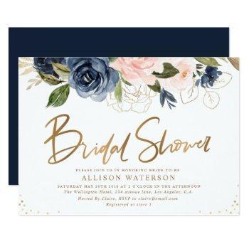 elegant gold script blush & navy bridal shower invitation