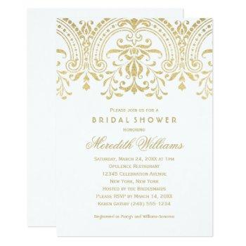 elegant gold vintage glamour wedding bridal shower invitation