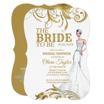 elegant gold vintage swirls wedding bridal shower invitation