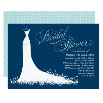 elegant gown | aqua and navy blue bridal shower invitation