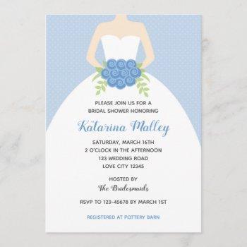 elegant gown bridal shower invitation (blue)