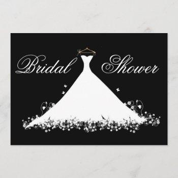 elegant gown silhouette bridal shower invitation
