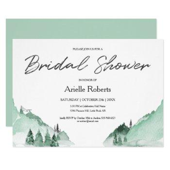 elegant green forest mountains bridal shower invitation