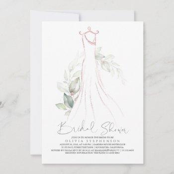 elegant greenery and wedding dress bridal shower i invitation