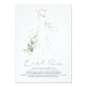 Elegant Greenery And Wedding Dress Bridal Shower Invitation Front View