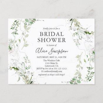 elegant greenery bridal shower invitation postcard