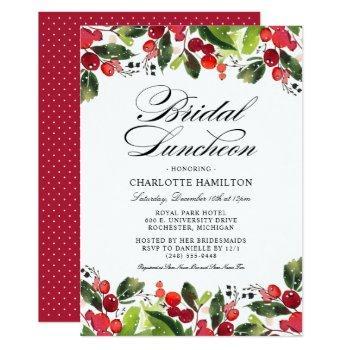 elegant holiday bridal luncheon   christmas floral invitation