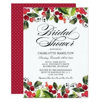elegant holiday bridal shower   christmas floral invitation