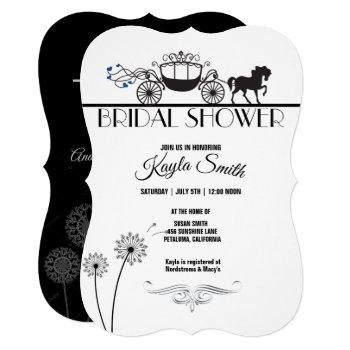 elegant horse and buggy wedding bridal shower invitation