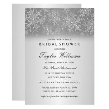 elegant jewel silver snowflake bridal shower invitation