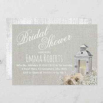 elegant lantern & ivoy rose floral bridal shower invitation