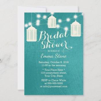 elegant lanterns modern teal bridal shower invitation