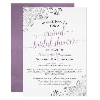 elegant lavender gray white virtual bridal shower invitation