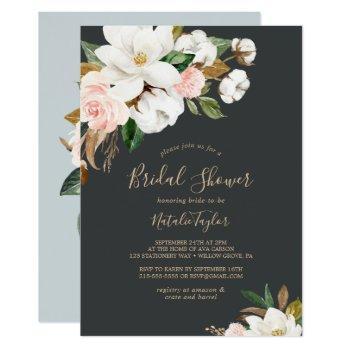 elegant magnolia   black and white bridal shower invitation