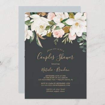 elegant magnolia   black and white couples shower invitation