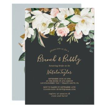 elegant magnolia | black & white brunch and bubbly invitation