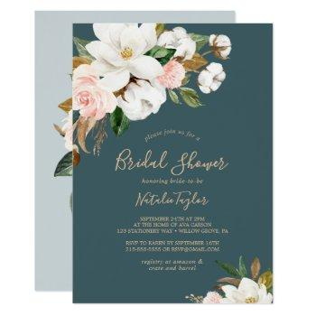 elegant magnolia | teal and white bridal shower invitation