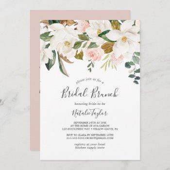 elegant magnolia | white and blush bridal brunch invitation