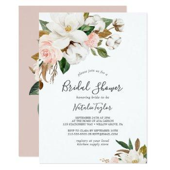 elegant magnolia | white and blush bridal shower invitation