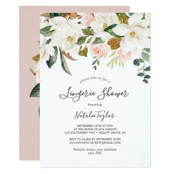 elegant magnolia | white and blush lingerie shower invitation
