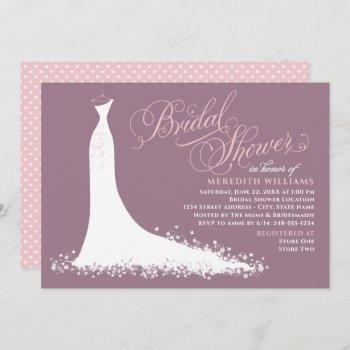elegant mauve pink wedding gown bridal shower invitation