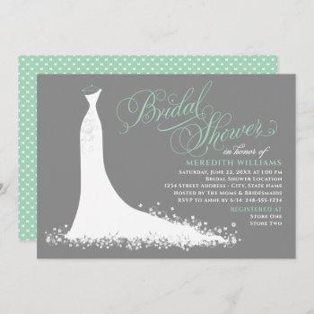 elegant mint green wedding gown bridal shower invitation