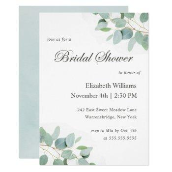 elegant modern eucalyptus bridal shower invitation