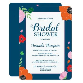 elegant modern flowers on blue bridal shower invitation