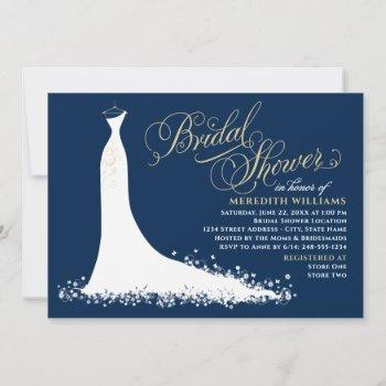 elegant navy and gold wedding gown bridal shower invitation