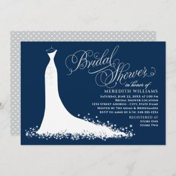 elegant navy and silver gown bridal shower invitation