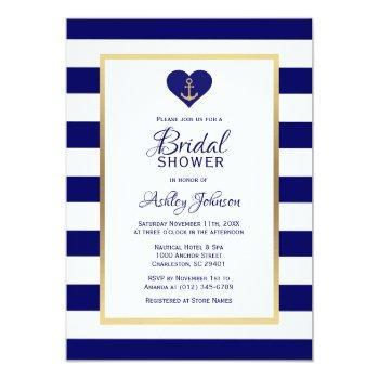 elegant navy blue nautical wedding bridal shower invitation