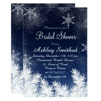 elegant navy blue snowflake winter bridal shower invitation