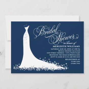 elegant navy blue white wedding gown bridal shower invitation
