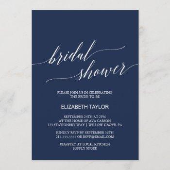 elegant navy calligraphy bridal shower invitation