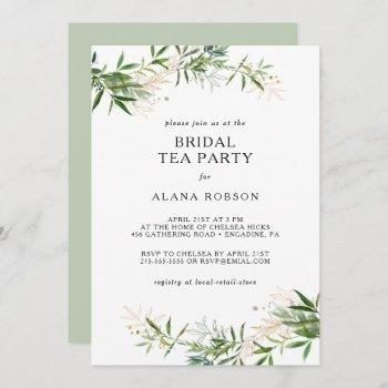 elegant olive greenery bridal tea party invitation