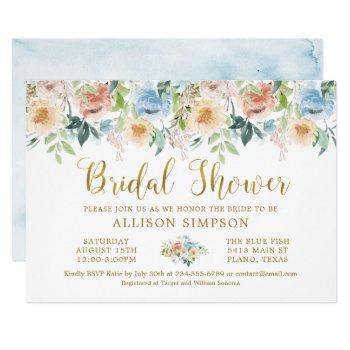 elegant pastel watercolor floral bridal shower invitation