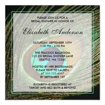 elegant peacock feather bridal shower invitations