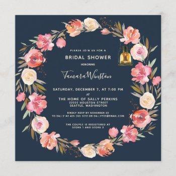 elegant peonies floral lanterns navy bridal shower invitation