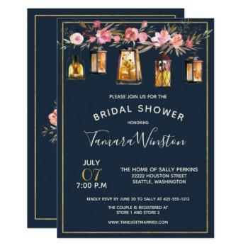 elegant peonies rustic lanterns navy coral floral invitation