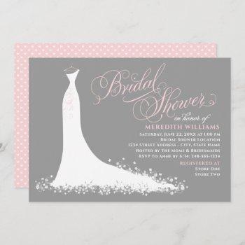 elegant pink and gray wedding gown bridal shower invitation