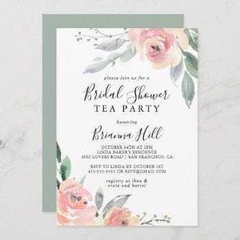 elegant pink blush floral bridal shower tea party invitation