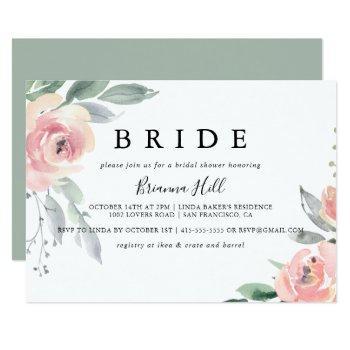 elegant pink blush floral bride bridal shower invitation