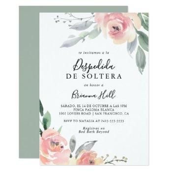 elegant pink blush floral spanish bridal shower invitation