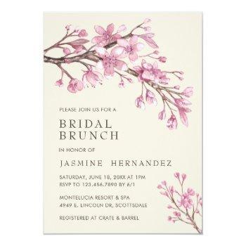 elegant pink cherry blossom bridal brunch invitation