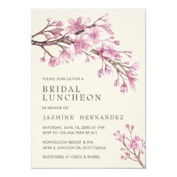 elegant pink cherry blossom bridal luncheon invitation