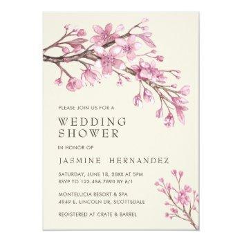 elegant pink cherry blossom wedding shower invitation