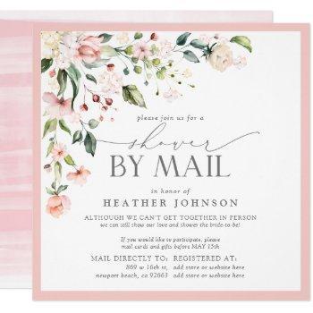 elegant pink floral bridal script shower by mail invitation