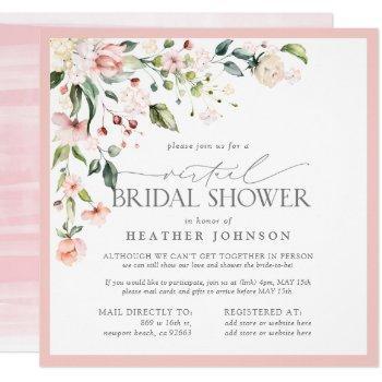 elegant pink floral script virtual bridal shower invitation