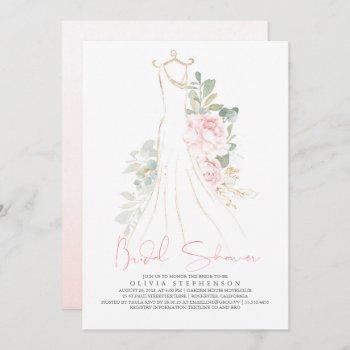 elegant pink flowers and greenery bridal shower invitation